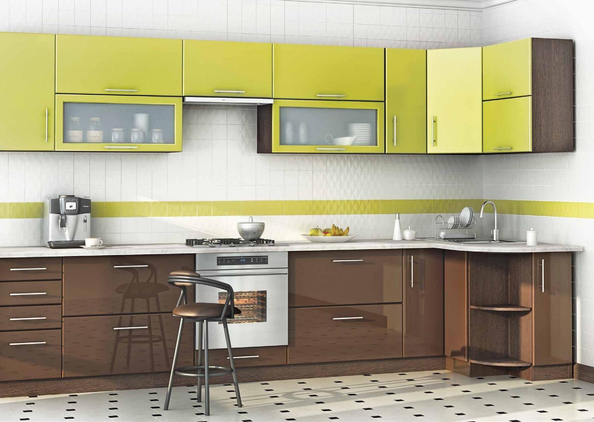 Угловая кухня заказная в цвете мокко-лайм - вариант 025