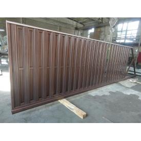 Ворота відкатні Пан-Паркан з зашивкою з паркану 0,5 мм