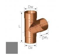 Тройник Gamrat 67,5° 90 мм серебряный