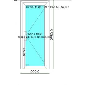Алюмінієва тепла скляні двері HOFFMANN 70 з энергосберегаюшим склопакетом 900х2150 см