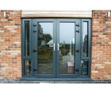 Енергозберігаючі Двері вхідні з віконним блоком теплий алюміній HOFFMANN 70 2400x2100 см