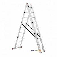 Лестница алюминиевая трехсекционная универсальная раскладная Intertool LT-0309 9 ступенек 5,93 м