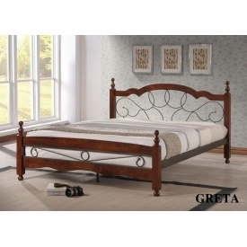 Кровать ONDER MEBLI Greta 1600х2000 мм античное золото/орех