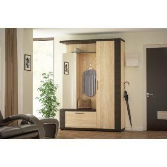 Прихожая Марк 150 Мебель-Сервис 155х216х44 дуб санома\венге темный