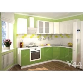 Кухня угловая МДФ салатово-белая на заказ индивидуалльный гарнитур V44