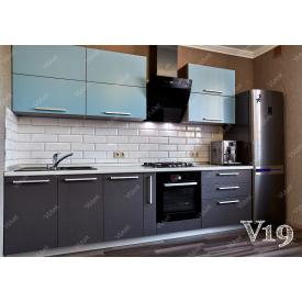 Кухня прямая МДФ на заказ индивидуальній гарнитур V-19 бирюзово-кофейный