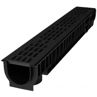 Лоток пластиковый 100.125 129 мм с решеткой пластиковой черный