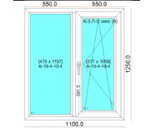 Вікно металопластикове WDS Classic 1110x1250 см