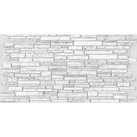 Листовая панель ПВХ Регул камень Пластушка черно-белая 0,4 мм
