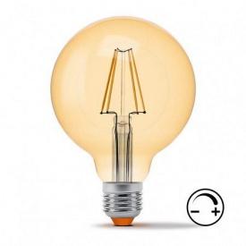 Диммируемая LED лампа VIDEX Filament G95FAD 7W E27 2200K 220V бронза