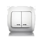 Вимикач двоклавішний з підсвічуванням ERSTE CLASSIC 9201-02N білий