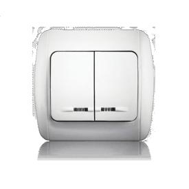 Выключатель двухклавишный с подсветкой ERSTE CLASSIC 9201-02N белый