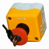 Пост аварійний ElectrO 10A 230/400B IP44 N0+NC жовтий з червоним грибком і ключем (PK722RY44AK)