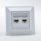 Розетка Gunsan Neoline компьютерная cat. 5E двойная белая (1421100100131)