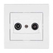 Розетка TV/R Schneider Electric Anya AYA3300121 прохідна 4дБ 81,5х81,5х40 мм білий