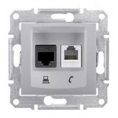 Розетка Schneider Electric Sedna SDN5100160 RJ11+RJ45 кат.5е UTP алюминий