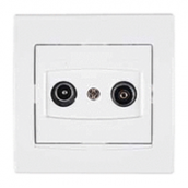 Розетка TV/R Schneider Electric Anya AYA3300221 прохідна 8дБ 81,5х81,5х40 мм білий