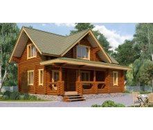 Дом деревянный из оцилиндрованного бревна 8х9 м