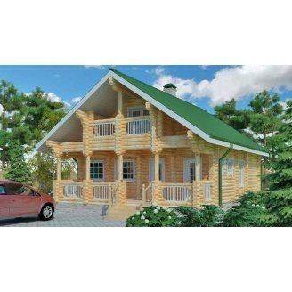 Строительство деревяного дома из оцилиндрованного бревна 11х10 м