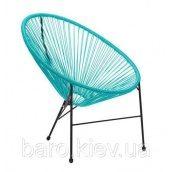 Кресло AMF Acapulco черный ротанг голубой