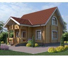 Дом деревяный из оцилиндрованного бревна 9х7 м