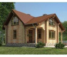 Деревянный дом из оцилиндрованного бревна 8х11 м