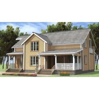Дом деревянный из оцилиндрованного бревна 13х16 м