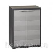 Шкаф низкий двухдверный Elegance S черный/тепло-серый Toomax