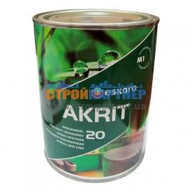 Краска Eskaro Akrit 20 моющая полуматовая для стен 0,95 л