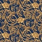 Ковровая дорожка Гвоздика 500 темно-синяя с рисунком на войлочной основе 5 мм на отрез