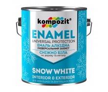 Эмаль алкидная универсальная Kompozit матовая 12 л снежно-белый