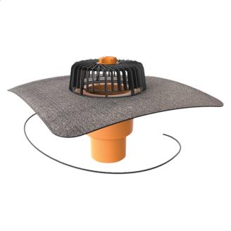 Покрівельна воронка вертикальна з підігрівом і привареним бітумним фартухом