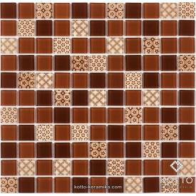Стеклянная мозаика Котто Керамика GM 4054 C3 BROWN D BROWN M STRUCTURE 300х300х4 мм