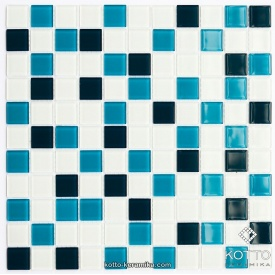 Стеклянная мозаика Котто Керамика GM 4021 C3 CERULEAN D CERULEAN M WHITE 300х300х4 мм