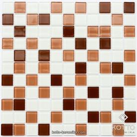 Стеклянная мозаика Котто Керамика GM 4037 C3 BROWN M BROWN W WHITE 300х300х4 мм