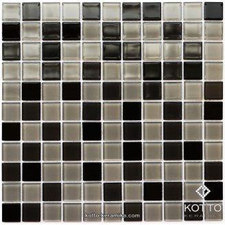 Стеклянная мозаика Котто Керамика GM 4008 C3 BLACK GRAY M GRAY W 300х300х4 мм