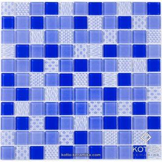 Стеклянная мозаика Котто Керамика GM 4052 C3 COBALT M COBALT W STRUCTURE 300х300х4 мм
