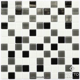 Стеклянная мозаика Котто Керамика GM 4034 C3 GRAY M GRAY W WHITE 300х300х4 мм