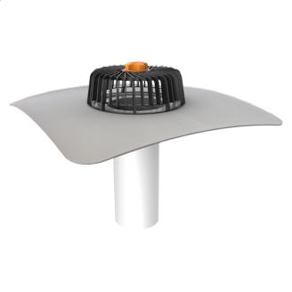 Одношарова покрівельна воронка для покрівель без теплоізоляції з привареним фартухом з ПВХ-мембрани