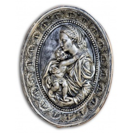Гипсовая картина Божьей Матери с ребенком Кр/011 21х27х4 см