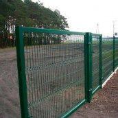 Ворота распашные Сетка Запад 2050х4000 мм оцинковка/ПП RAL 6005 зеленый