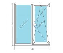 Металлопластиковое окно Viknar`OFF LWS 3 (поворот-откид) с 1-камерным стеклопакетом 1,3x1,55 м
