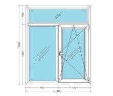 Металлопластиковое окно Viknar`OFF Mega Line 500 Т-образное с 1-камер. стеклопакетом 1,4x1,7 м