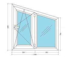 Металлопластиковое окно-трапеция Viknar`OFF Fenster 400 с 1-кам. стеклопакетом 1x1 м