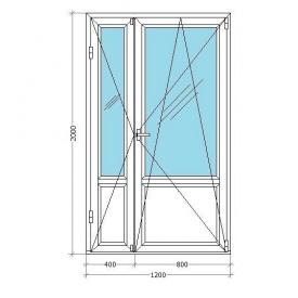 Балконные двери VIKNAR'OFF Mega Line 500 с 1-камерным стеклопакетом 1,2x2 м