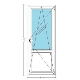 Балконные двери VIKNAR'OFF Mega Line 500 с 1-камерным стеклопакетом 0,8x2 м