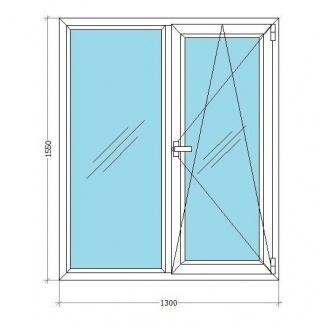 Металопластикове вікно Viknar'OFF LWS 3 (поворот-відкид) з 1-камерним склопакетом 1,3x1,55 м