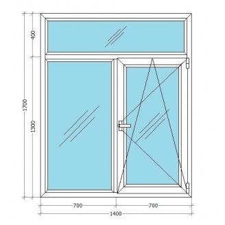 Металлопластиковое окно Viknar`OFF Fenster 400 Т-образное с 1-камер. стеклопакетом 1,4x1,7 м