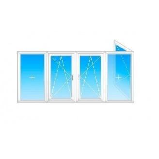 Балкон Г-образный Viknar`OFF Mega Line 500 с 1-кам. стеклопакетом 4x1,5м