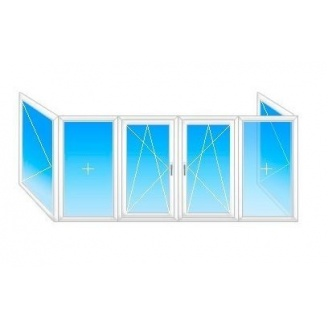 Балкон П-образный Fenster 400 с 1-кам. стеклопакетом 4,5x1,5м